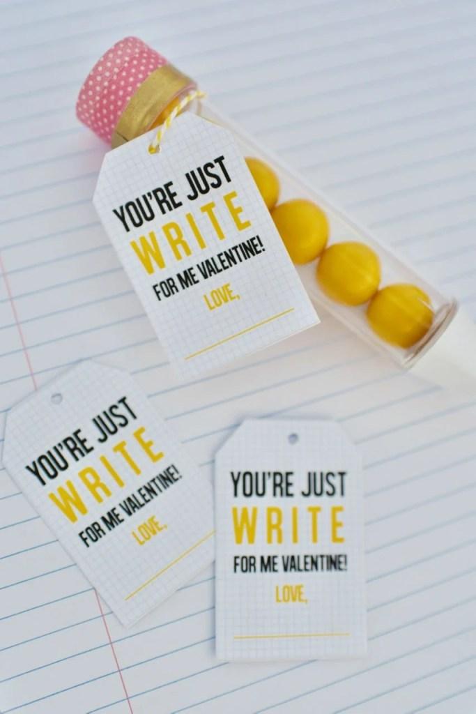 Cute pencil valentines + free pencil tag printables