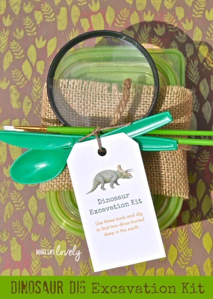 DIY Dinosaur dig excavation kit. Make a fun dinosour excavation kit for your little dino lover or for a dinosaur party!