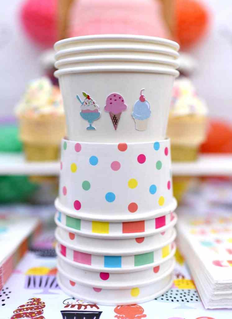 Ice cream cone party with Cricut Explore Air print and cut sticker sheets