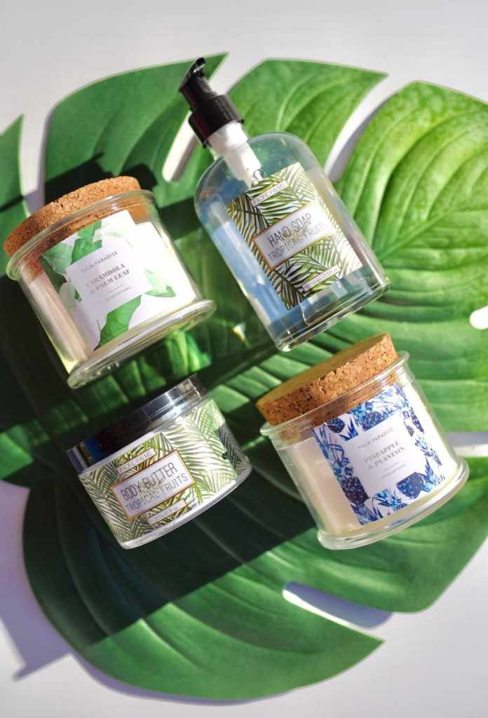 Tropical candles and soap for tropical Mother's Day gift basket