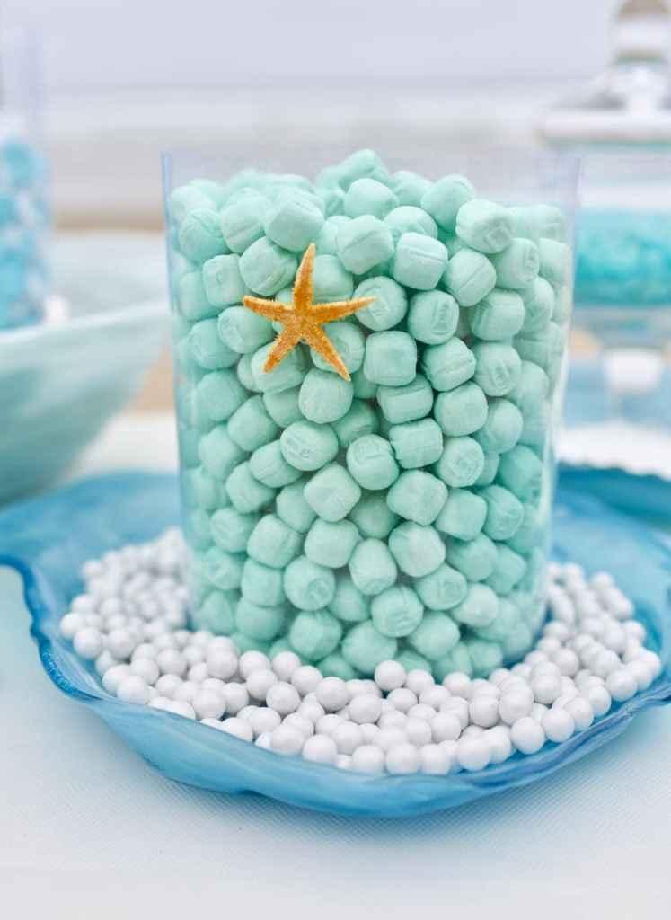 Mint candy buffet for beach wedding with ocean theme