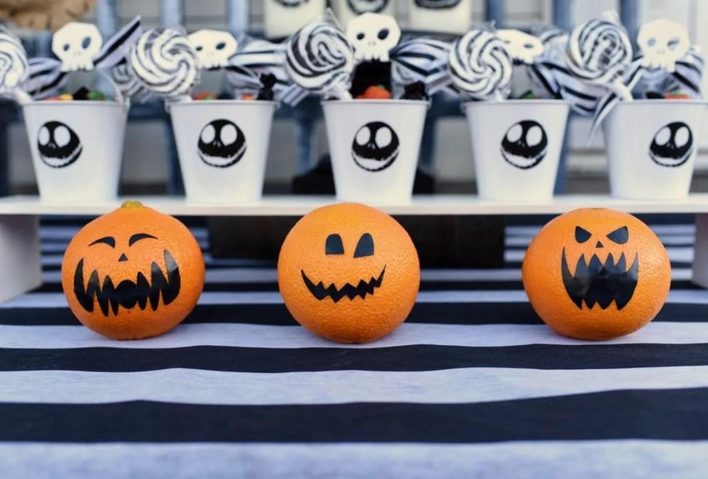 Jack-o-lantern orange pumpkins at Nightmare Before Christmas Halloween party