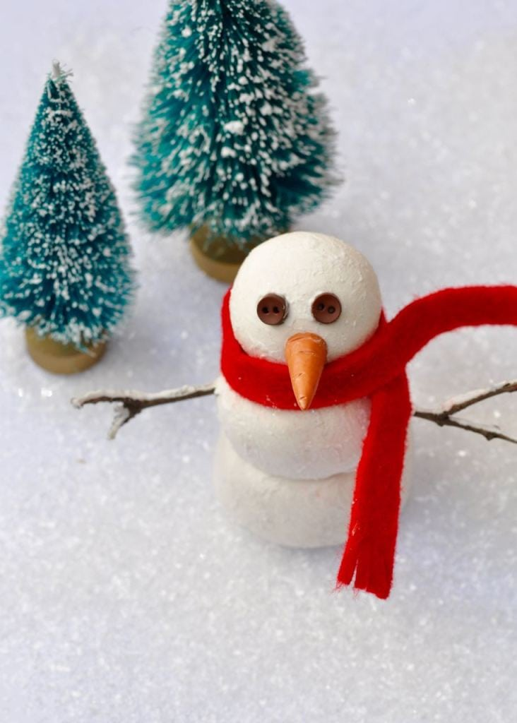 DIY snowman decoration craft made from clay. Such a cute and easy Christmas craft for kids and adults!