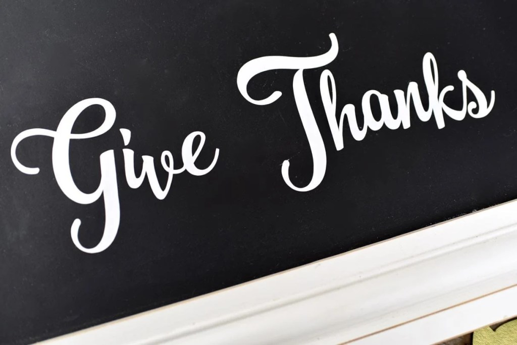 Give Thanks words on thankful tree chalkboard