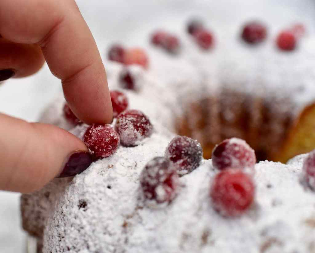 Orange cranberry bundt cake with sugared cranberries