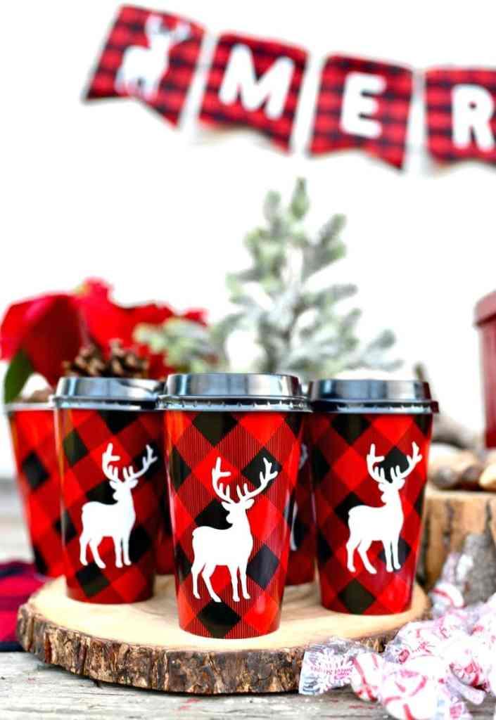 Christmas buffalo plaid party drinks with Cricut Explore machine