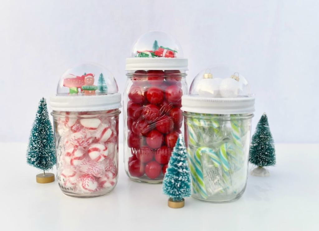DIY Mason jar snow globe toppers