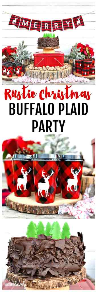 Get inspired with this gorgeous rustic Christmas buffalo plaid party! Lots of incredible party details that are made with a Cricut Explore Air 2 machine make this a great holiday party.