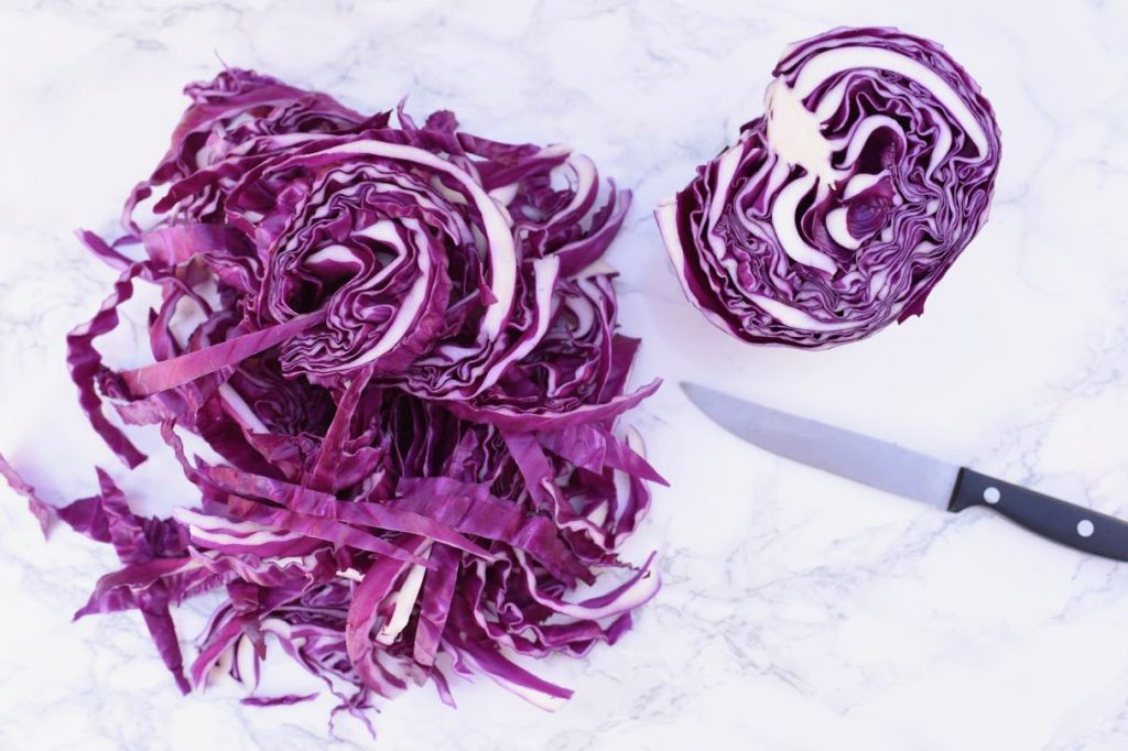 Blue dyed eggs with red cabbage for Easter