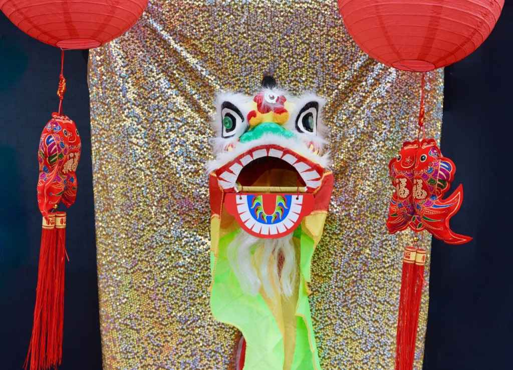 Chinese New Year party decorations and dragon head