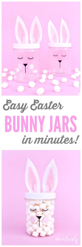Easy Easter bunny jars in minutes! Use your Cricut machine and vinyl to create these darling Easter bunny jars, perfect for an Easter party, as Easter favors, and for a fun Easter kids craft.