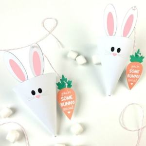 Free Easter Bunny Treat Cones Printables + Carrot Favor Tags