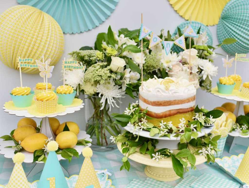 Outdoor garden party with yellow and lemons