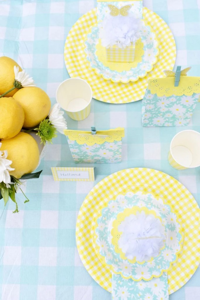 Outdoor summer garden party with yellow and mint Martha Stewart Celebrations Meyer Lemon