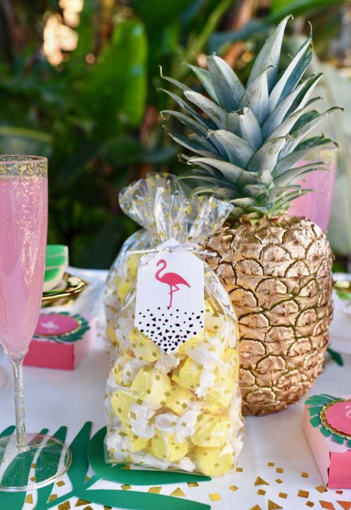 Tropical party favors at a tropical baby shower