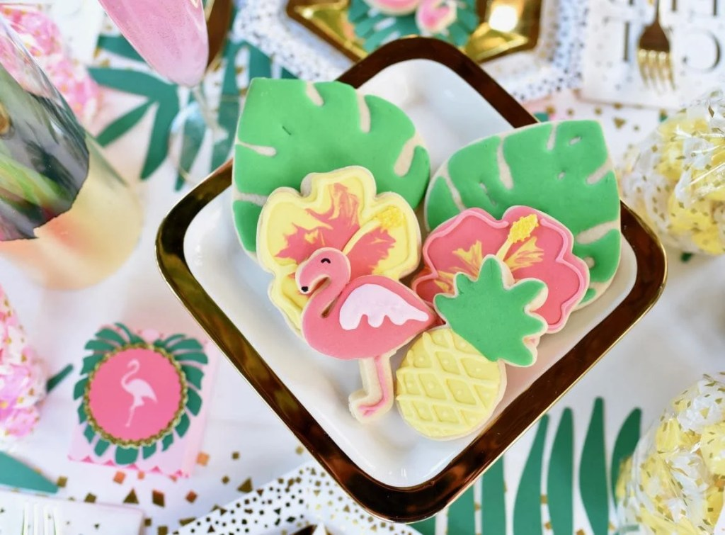 Tropical sugar cookies at a tropical baby shower