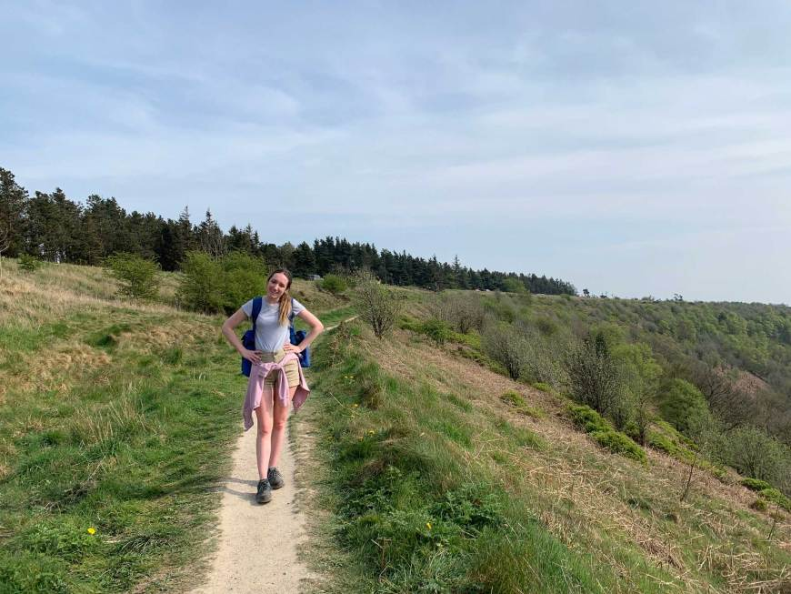 Megan Walking at Hole of Horcum
