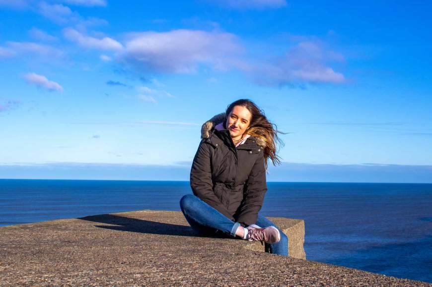 Megan taking a break at Cayton Bay