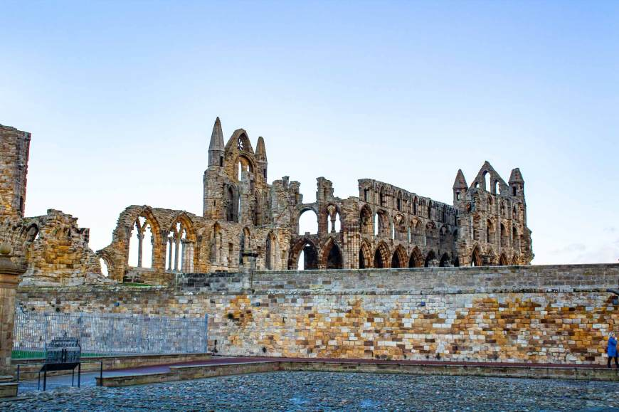 Whitby Abbey from the visitor centre courtyard