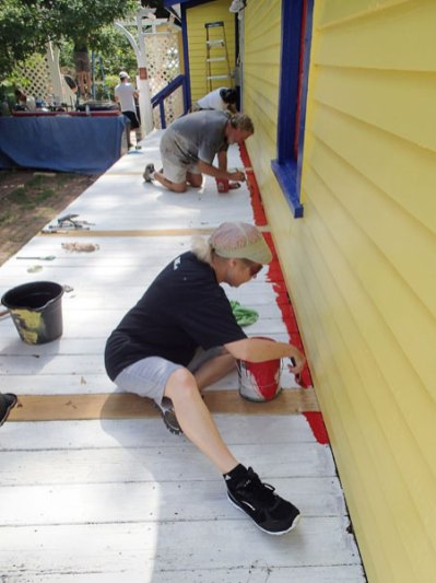 Day 5: Greg and JoAnne start the edging in of the porch.