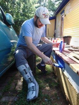 Day 3: A broken leg doesn't keep Bill away from helping Bertha.
