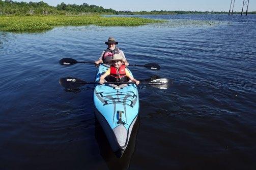 Gabe kayaking with Greg at Goose Creek Reservoir.