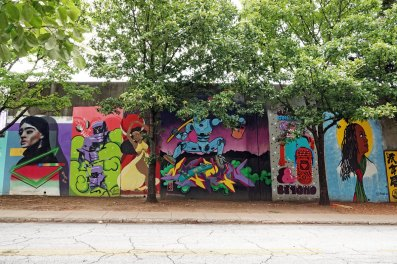 In this past year, murals were added to the wall one at a time but I've heard that the weekend-long event will start back up in the fall.
