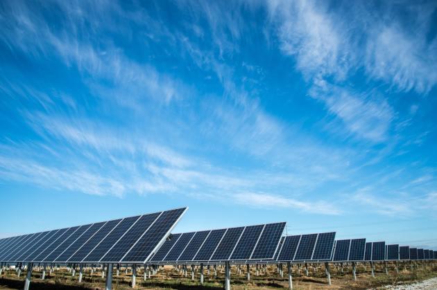 lots of solar panel in afield