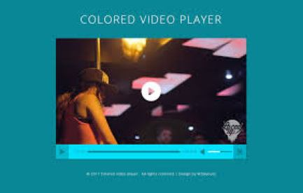 colored video player on green background
