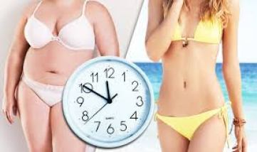 two girls in swim suit and clock