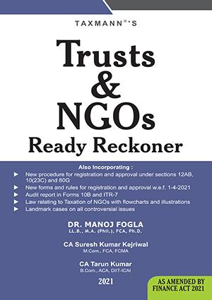 Taxmann Taxation of Trusts & NGOs By Manoj Fogla Edition May 2021