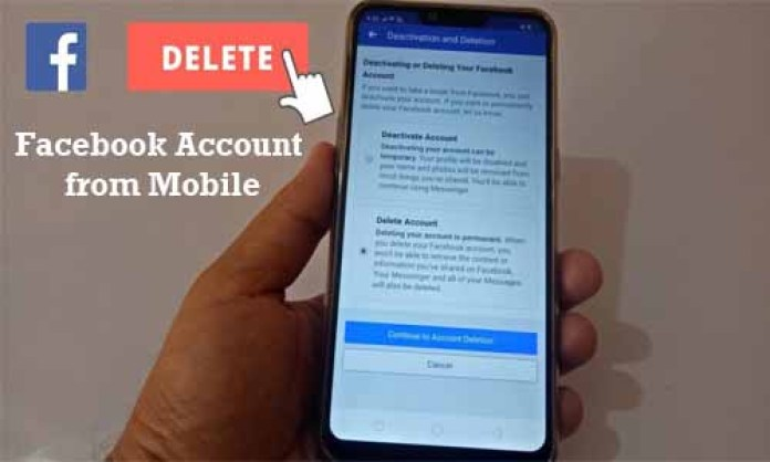 Delete Facebook Account from Mobile