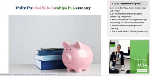 Fully Funded Scholarships in Germany
