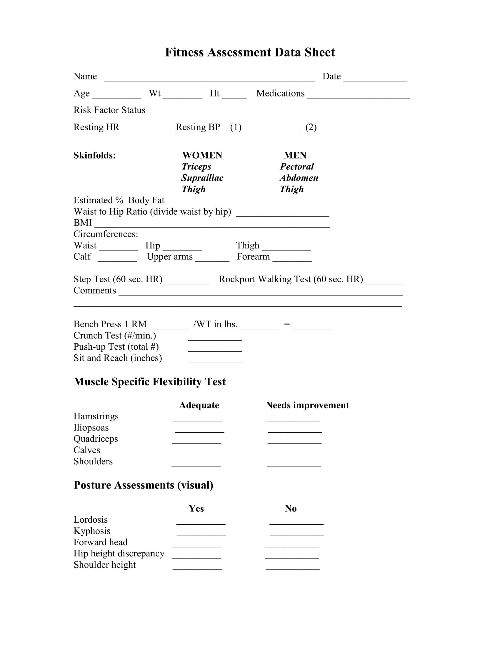 Fitness Testing Worksheet