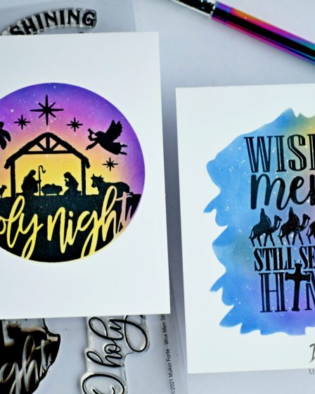 Ink blended Silhouette Christmas Cards