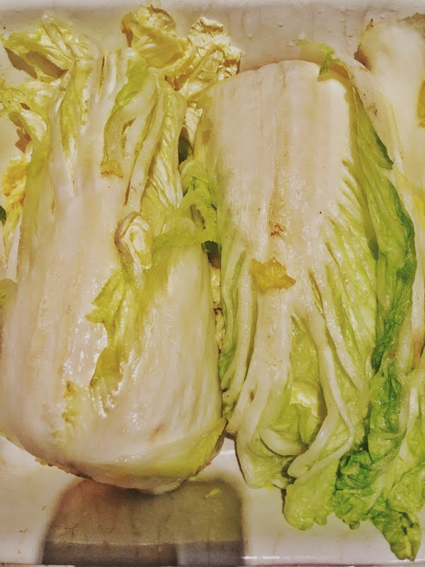 napa cabbage sliced half