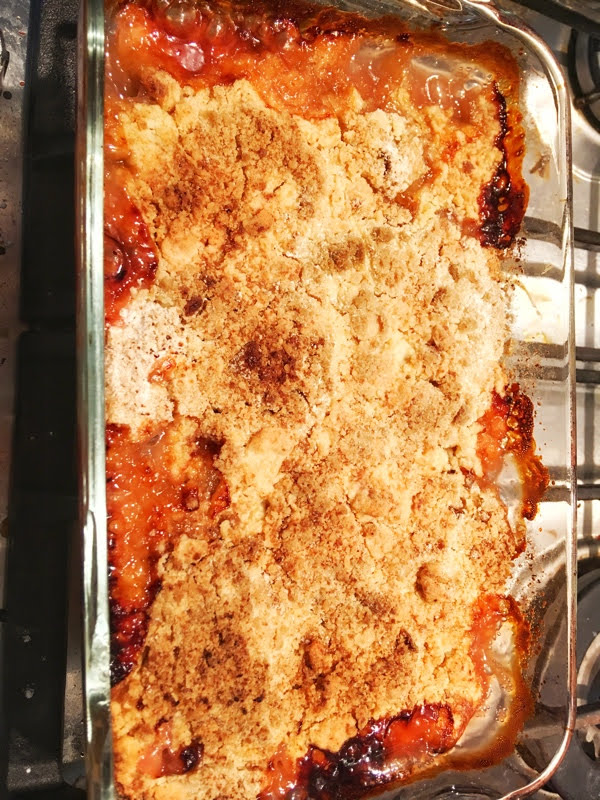rhubarb crumble just baked