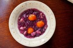 purple sweet potato and tapioca pudding