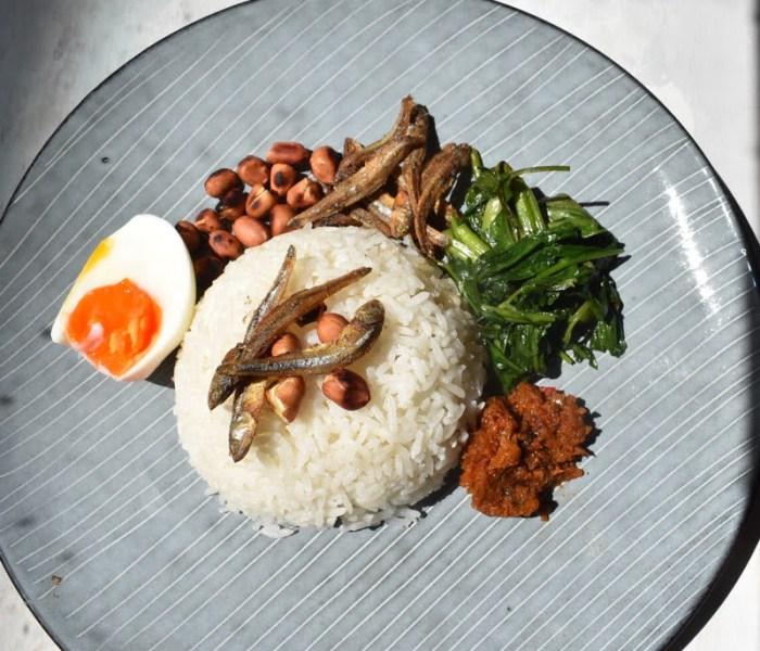 Nasi lemak (Malaysian coconut spicy rice)