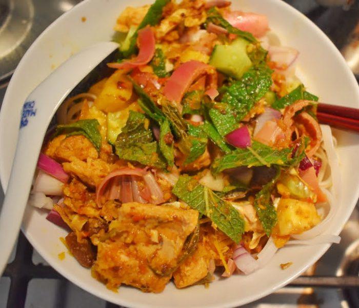 Assam Laksa (Malaysian fish soup noodle)