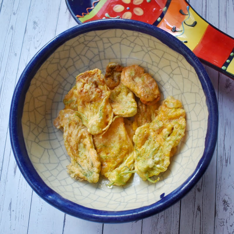Courgette/ Squash blossom fritters