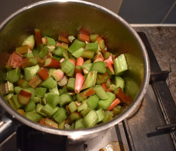 Rhubarb compote making at home
