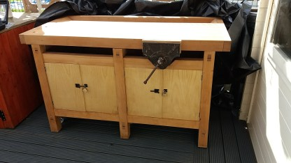 Our donated woodwork bench.