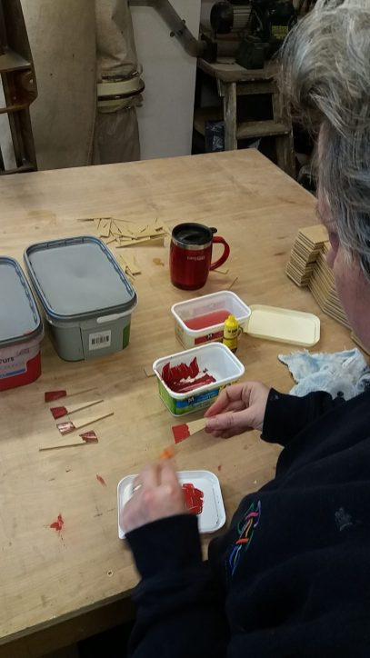 Sue Archer mixing test colours.