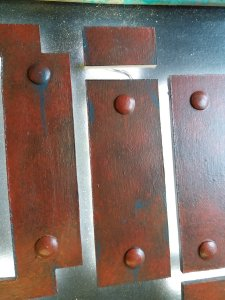 close up of the rusty metal effect letters