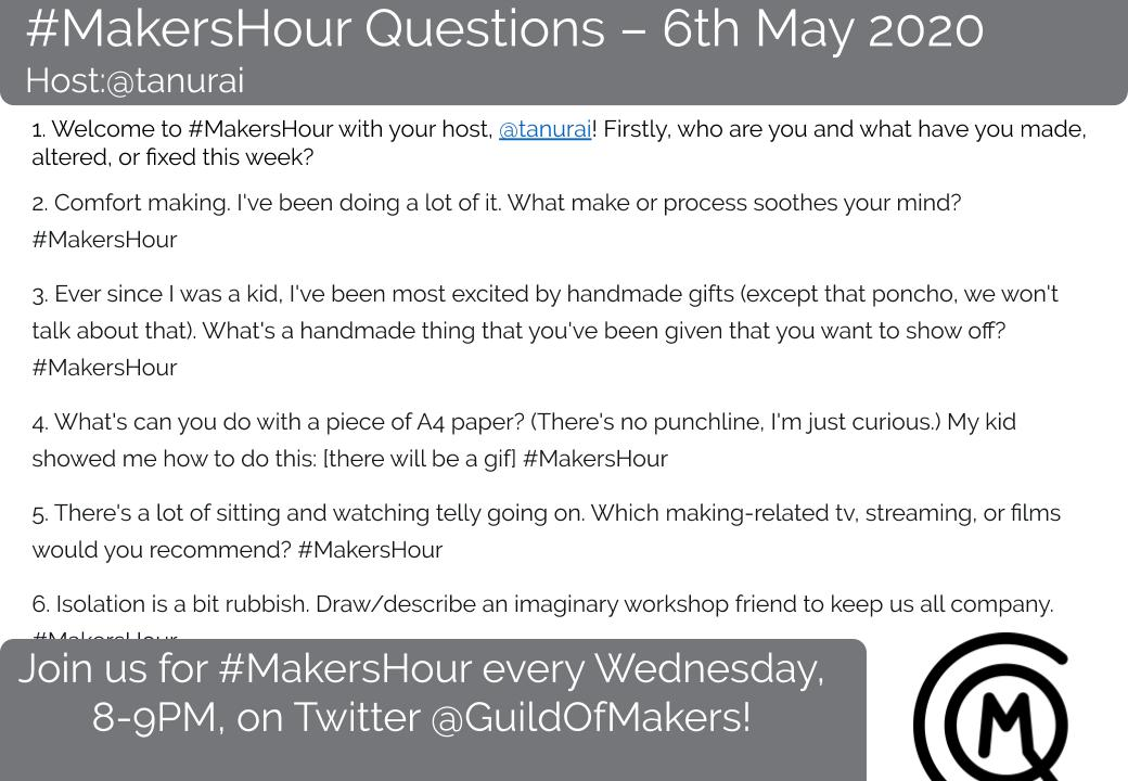 Joining in with #MakersHour