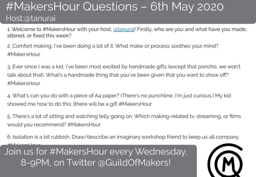 A screen shot of the @GuildOfMakers #MakersHour questions. The questions will be repeated in the blog text below.