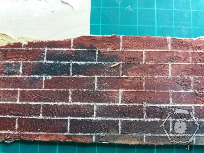 A close up of the better of the two brick test samples.