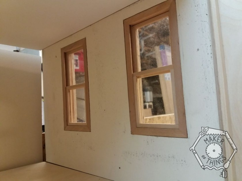 The inside view of the two bedroom sash windows upstairs.