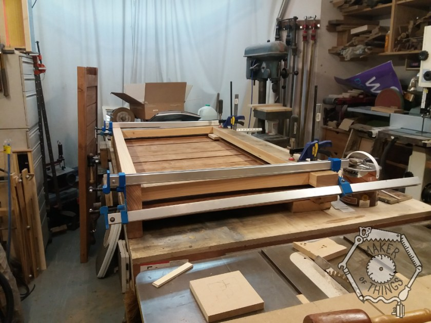 Side panels being made up on the bench.
